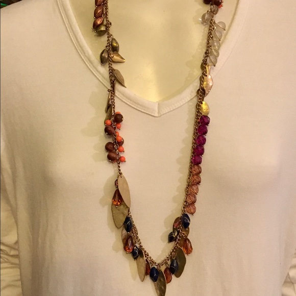 Jewelry - Beautiful Handmade Gold-Tone Long Beaded Necklace